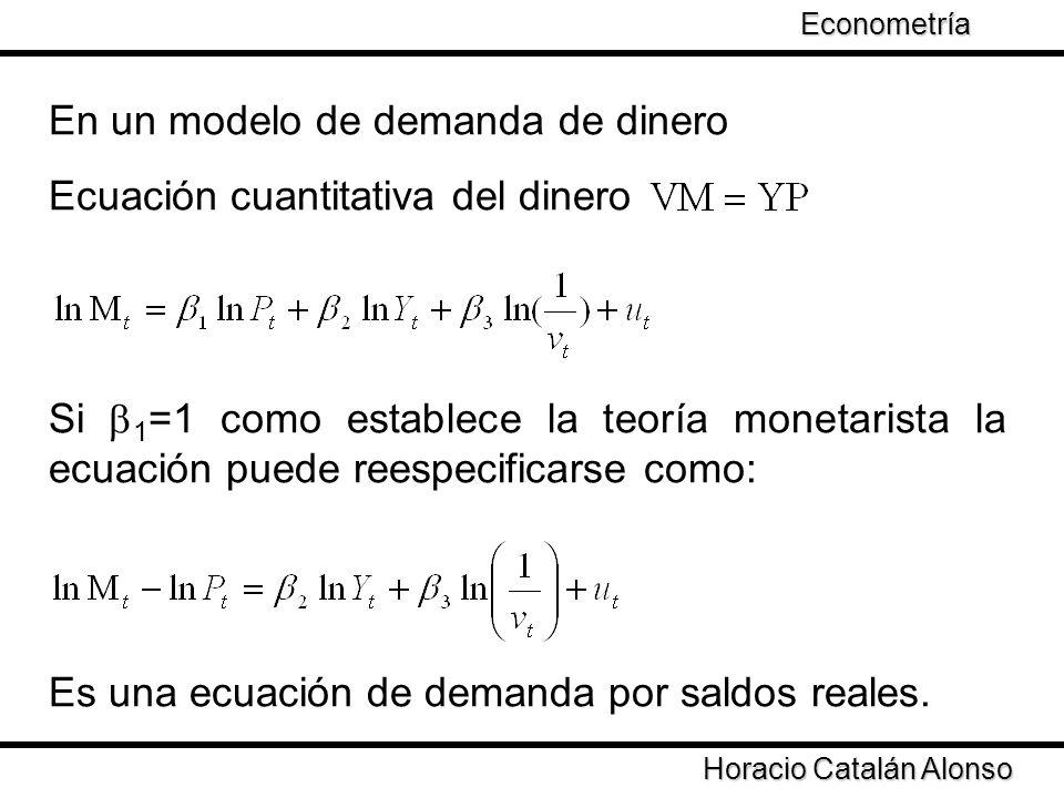 En un modelo de demanda de dinero Ecuación cuantitativa del dinero