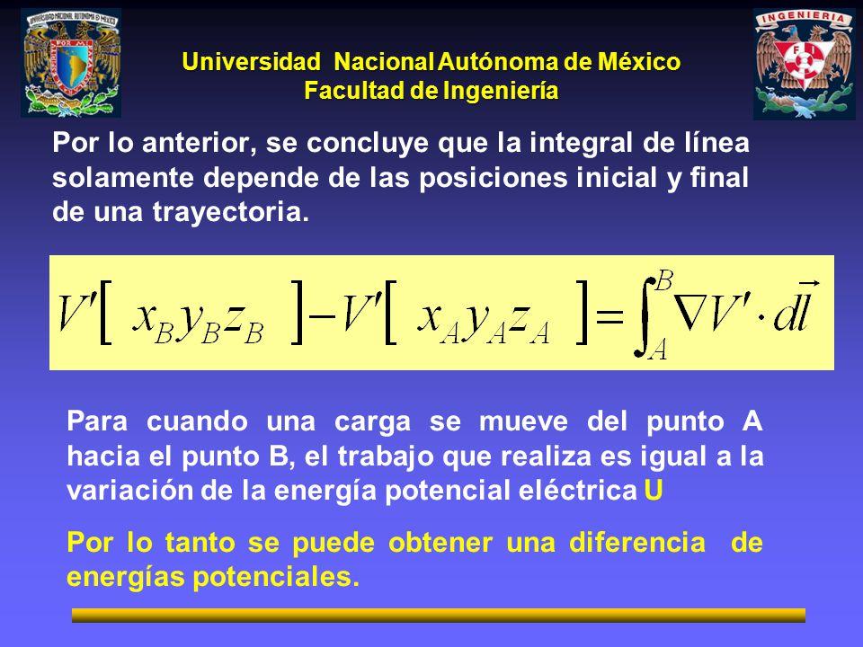 Por lo anterior, se concluye que la integral de línea solamente depende de las posiciones inicial y final de una trayectoria.