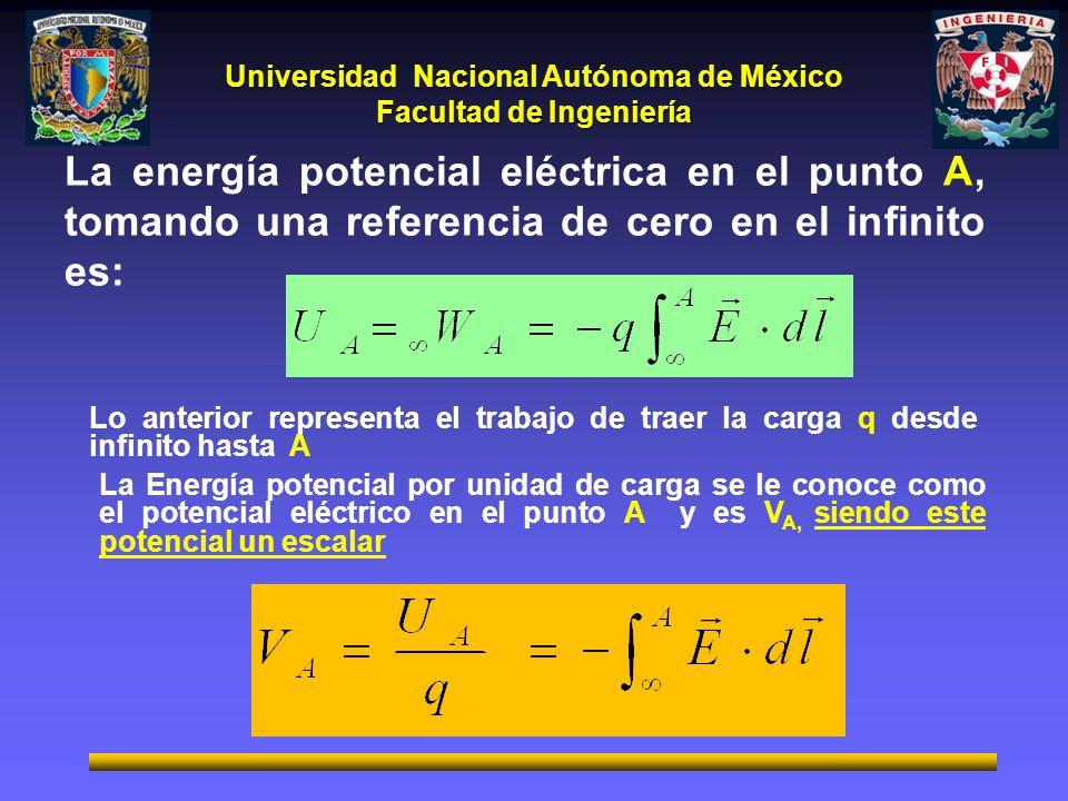 La energía potencial eléctrica en el punto A, tomando una referencia de cero en el infinito es: