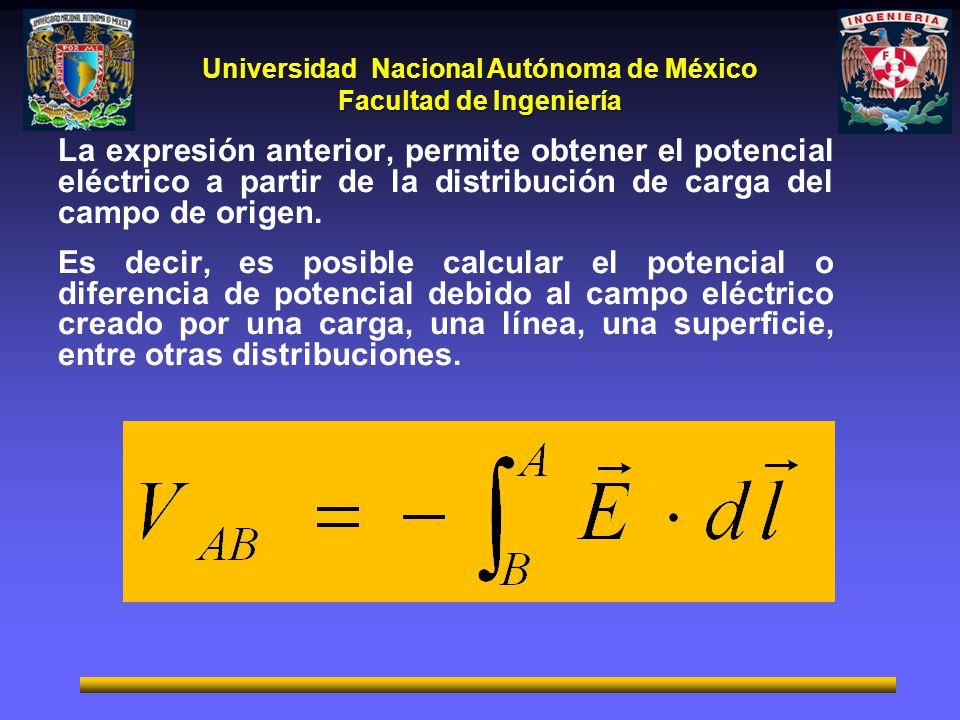La expresión anterior, permite obtener el potencial eléctrico a partir de la distribución de carga del campo de origen.