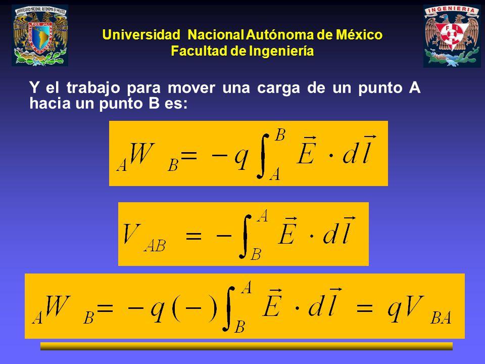 Y el trabajo para mover una carga de un punto A hacia un punto B es: