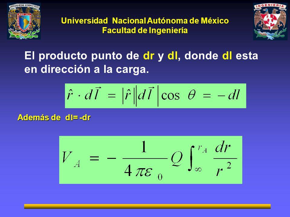 El producto punto de dr y dl, donde dl esta en dirección a la carga.