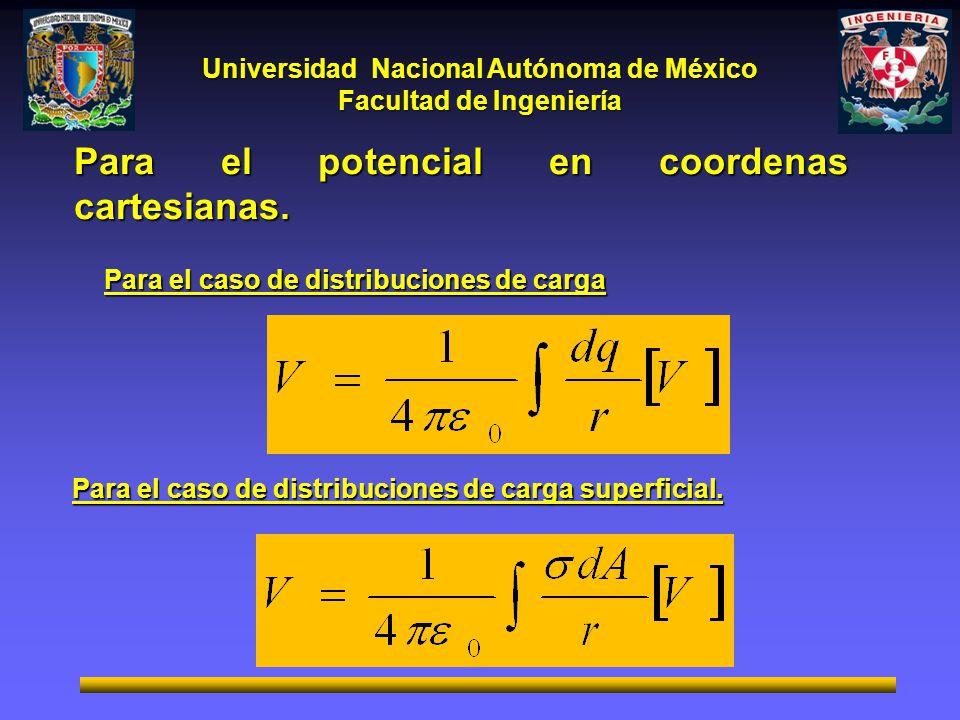 Para el potencial en coordenas cartesianas.
