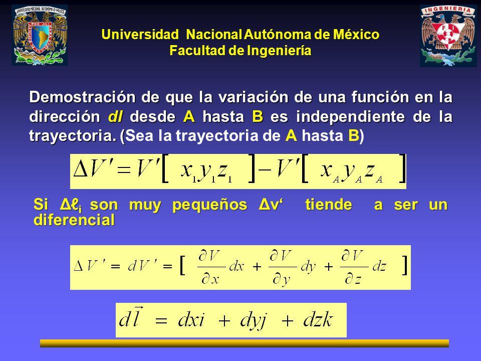Demostración de que la variación de una función en la dirección dl desde A hasta B es independiente de la trayectoria. (Sea la trayectoria de A hasta B)
