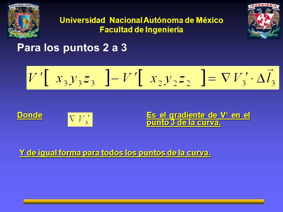 Para los puntos 2 a 3 Donde. Es el gradiente de V' en el punto 3 de la curva.