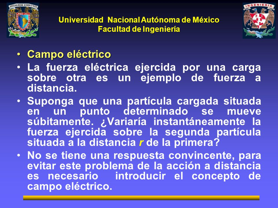 Campo eléctrico La fuerza eléctrica ejercida por una carga sobre otra es un ejemplo de fuerza a distancia.