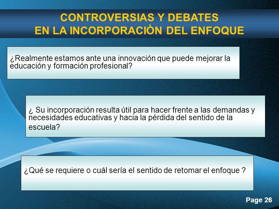 CONTROVERSIAS Y DEBATES EN LA INCORPORACIÒN DEL ENFOQUE