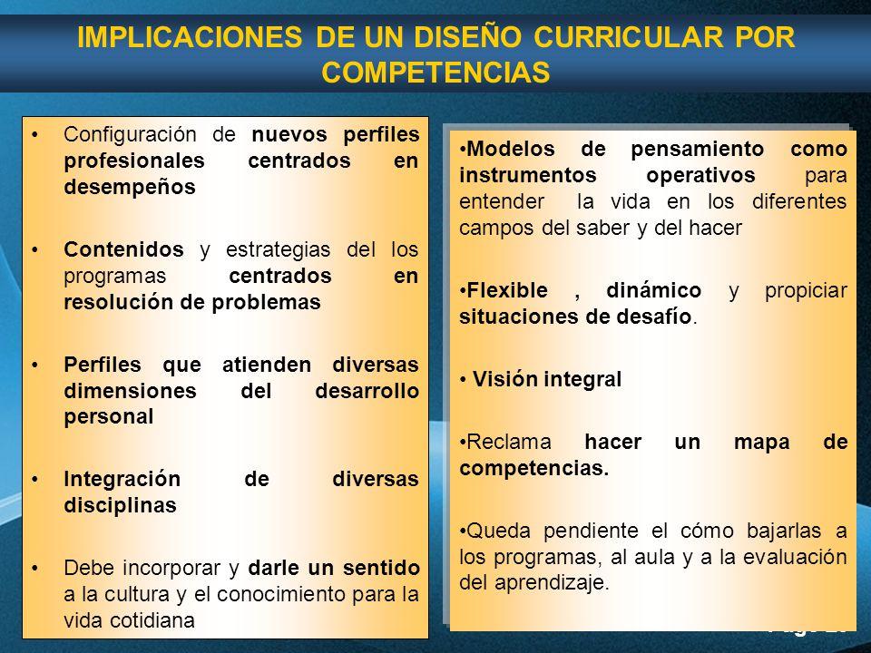 IMPLICACIONES DE UN DISEÑO CURRICULAR POR COMPETENCIAS