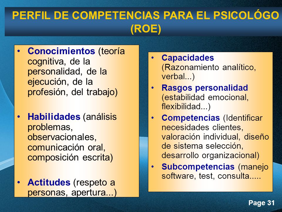 PERFIL DE COMPETENCIAS PARA EL PSICOLÓGO