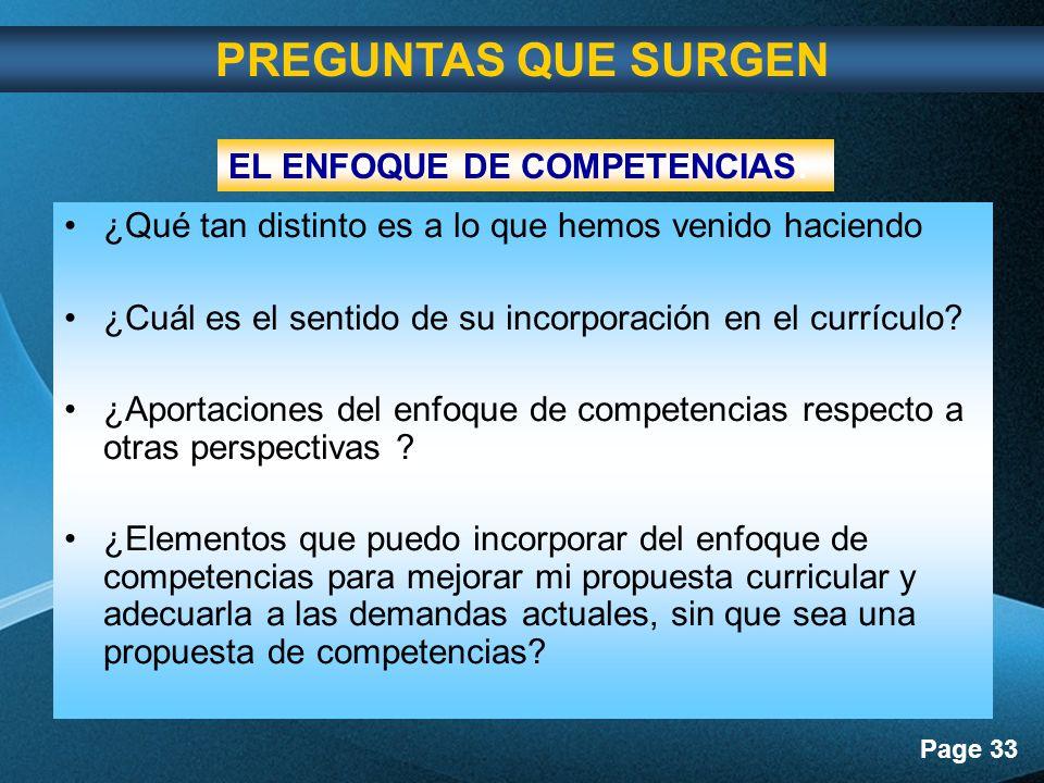 PREGUNTAS QUE SURGEN EL ENFOQUE DE COMPETENCIAS: