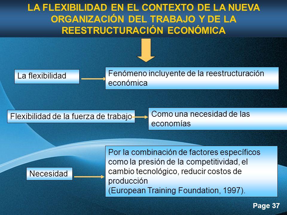 LA FLEXIBILIDAD EN EL CONTEXTO DE LA NUEVA ORGANIZACIÓN DEL TRABAJO Y DE LA REESTRUCTURACIÓN ECONÓMICA