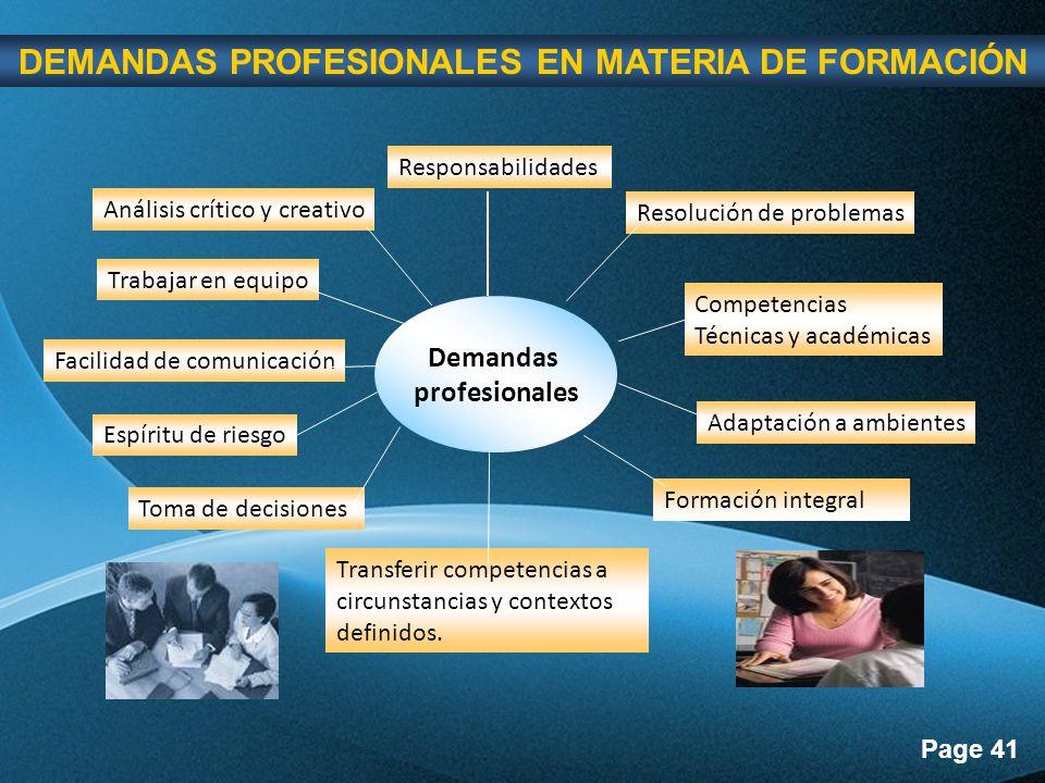 DEMANDAS PROFESIONALES EN MATERIA DE FORMACIÓN