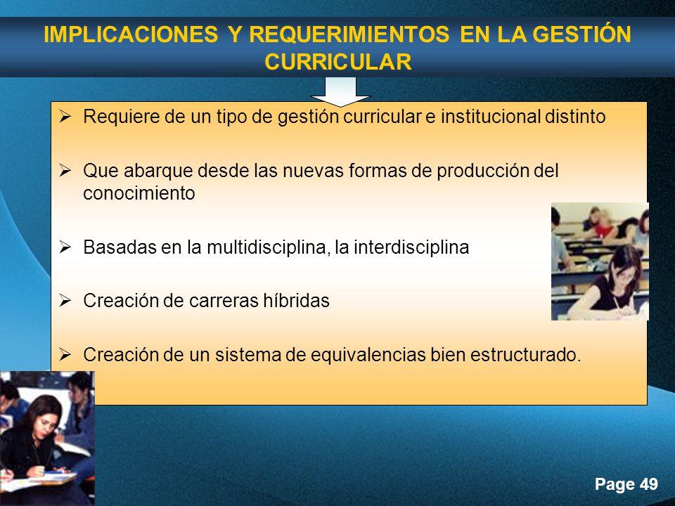IMPLICACIONES Y REQUERIMIENTOS EN LA GESTIÓN CURRICULAR