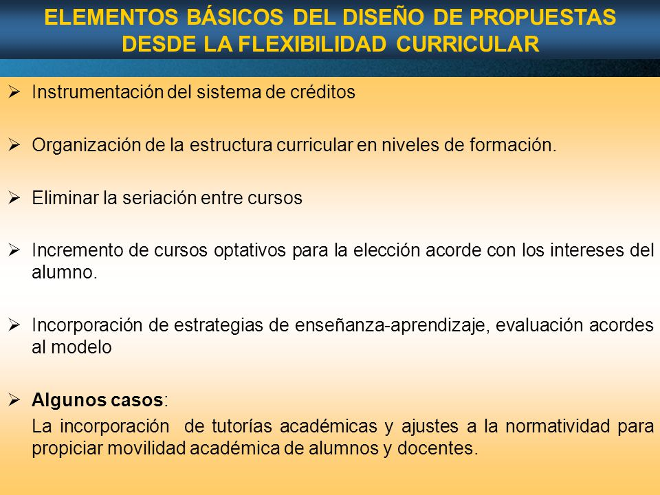 ELEMENTOS BÁSICOS DEL DISEÑO DE PROPUESTAS DESDE LA FLEXIBILIDAD CURRICULAR