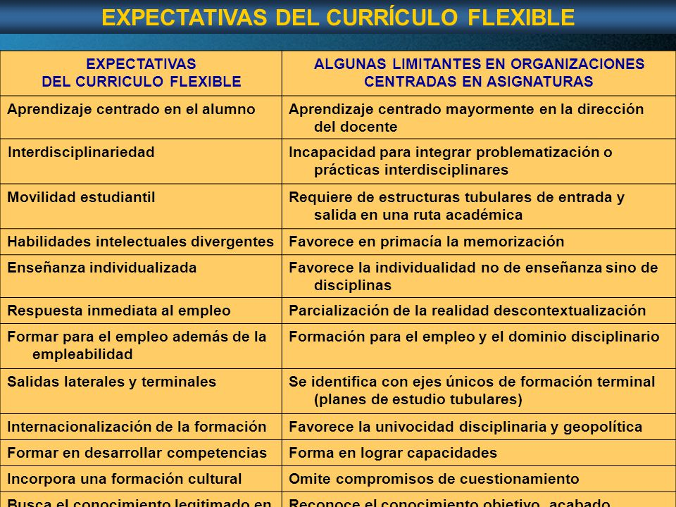 EXPECTATIVAS DEL CURRÍCULO FLEXIBLE