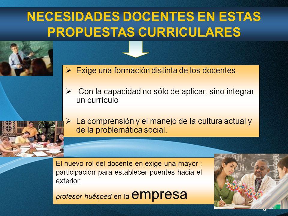 NECESIDADES DOCENTES EN ESTAS PROPUESTAS CURRICULARES