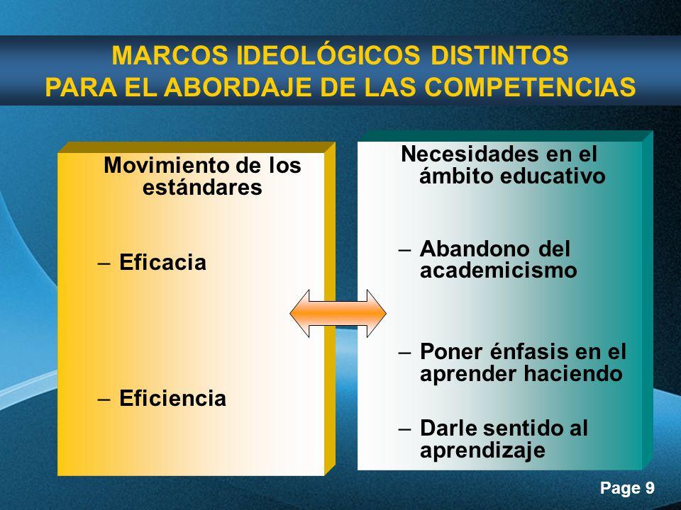 MARCOS IDEOLÓGICOS DISTINTOS PARA EL ABORDAJE DE LAS COMPETENCIAS