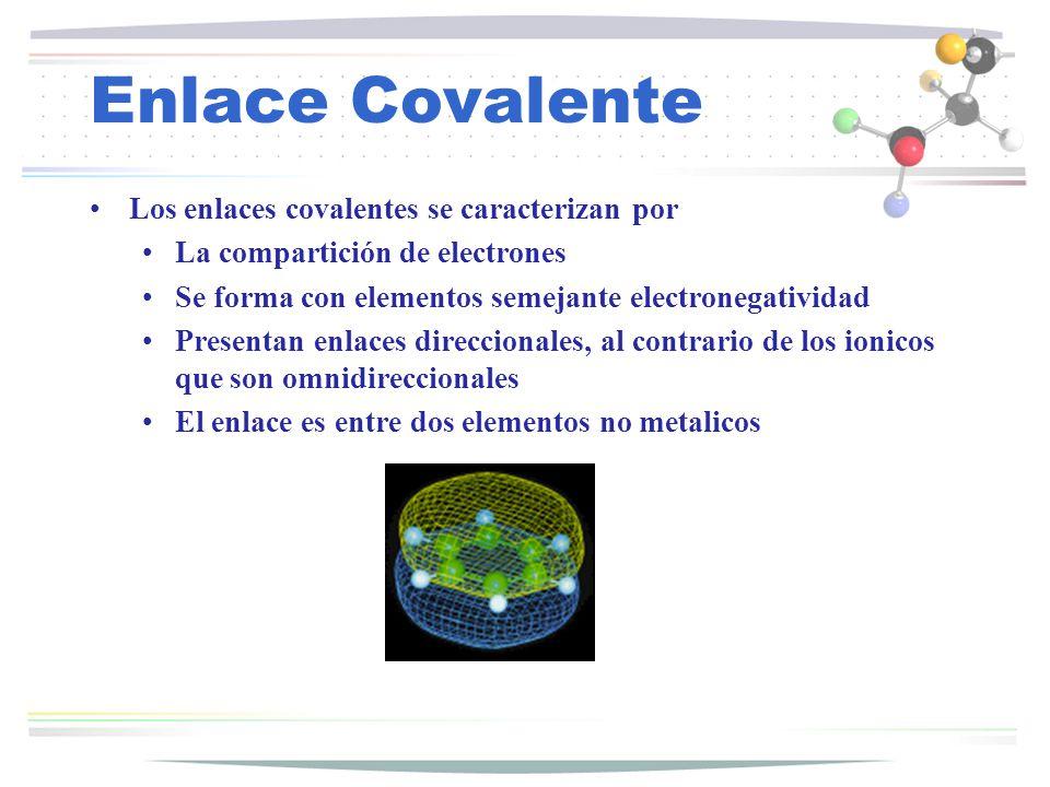 Enlace Covalente Los enlaces covalentes se caracterizan por
