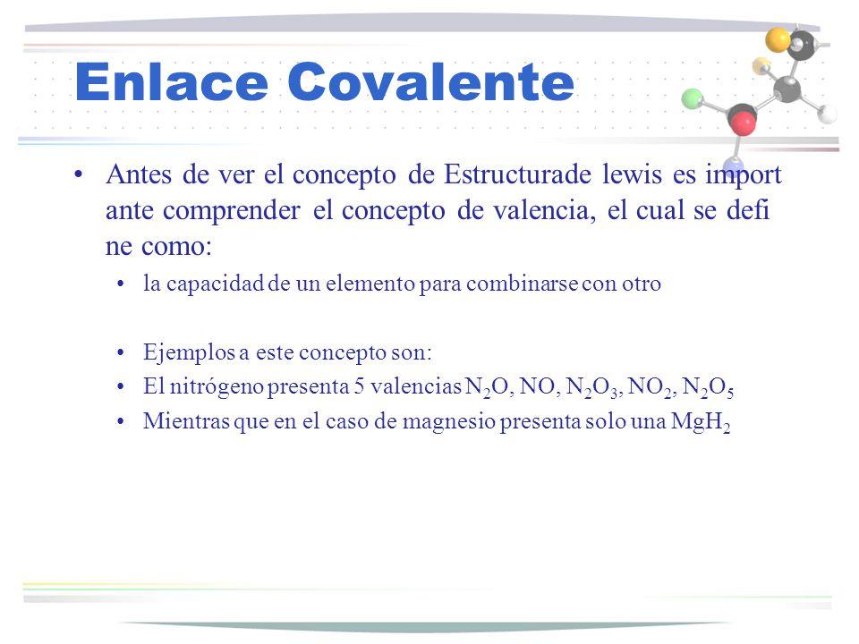 Enlace Covalente Antes de ver el concepto de Estructurade lewis es importante comprender el concepto de valencia, el cual se define como: