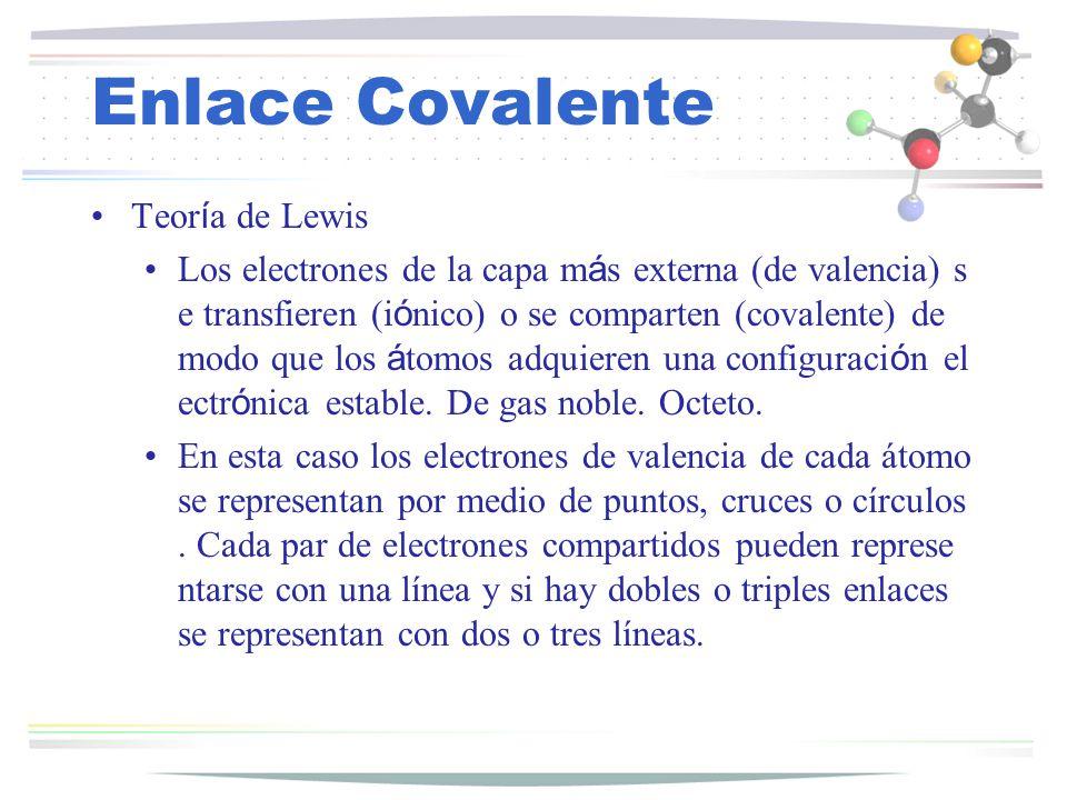 Enlace Covalente Teoría de Lewis