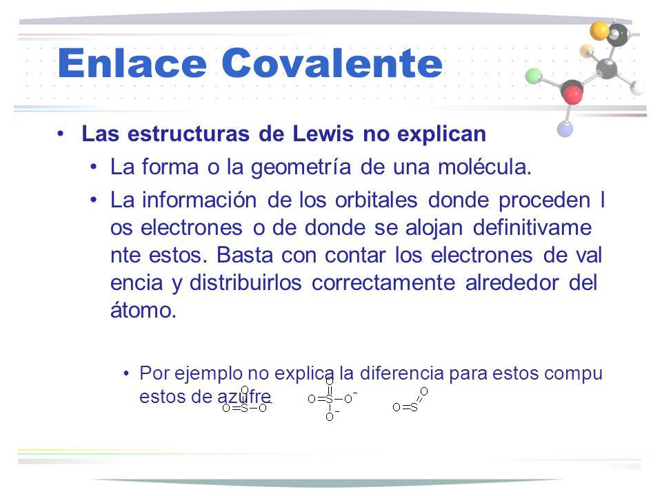 Enlace Covalente Las estructuras de Lewis no explican