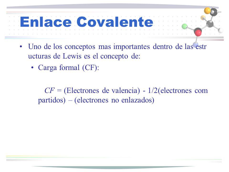 Enlace Covalente Uno de los conceptos mas importantes dentro de las estructuras de Lewis es el concepto de: