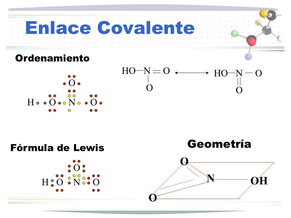 Enlace Covalente Geometría O N OH O Ordenamiento HO N O HO N O O O O H