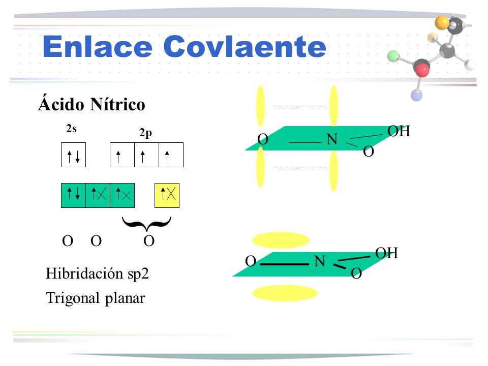 { Enlace Covlaente Ácido Nítrico OH O N O O O O OH O N Hibridación sp2