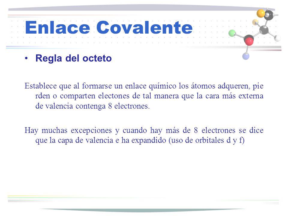 Enlace Covalente Regla del octeto