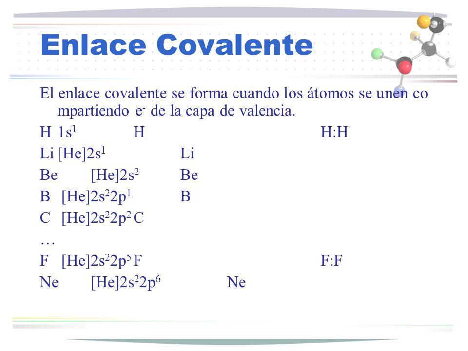 Enlace Covalente El enlace covalente se forma cuando los átomos se unen compartiendo e- de la capa de valencia.