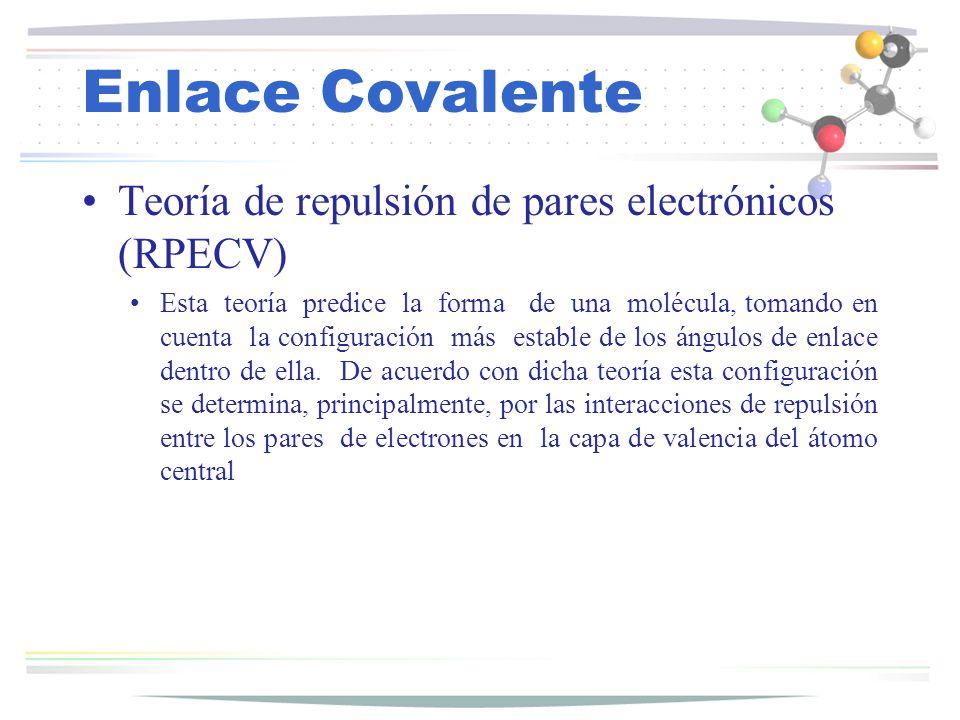Enlace Covalente Teoría de repulsión de pares electrónicos (RPECV)