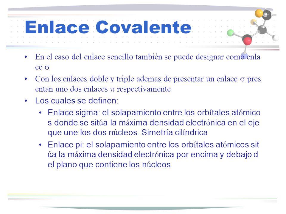 Enlace Covalente En el caso del enlace sencillo también se puede designar como enlace s.
