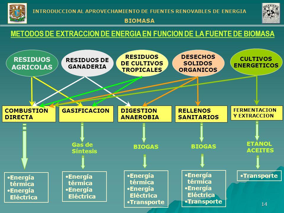 METODOS DE EXTRACCION DE ENERGIA EN FUNCION DE LA FUENTE DE BIOMASA