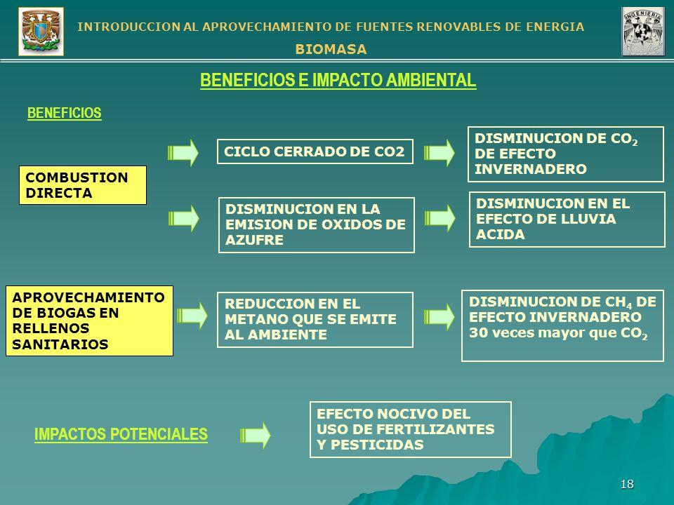 BENEFICIOS E IMPACTO AMBIENTAL