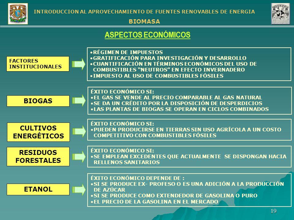 ASPECTOS ECONÓMICOS BIOGAS CULTIVOS ENERGÉTICOS RESIDUOS FORESTALES