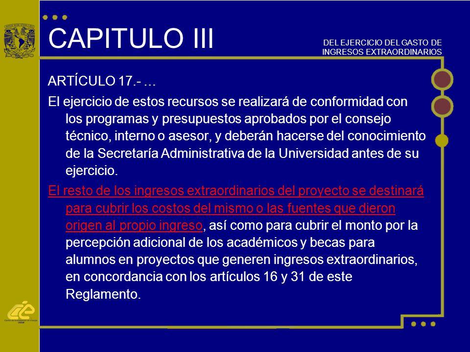 CAPITULO III ARTÍCULO 17.- …