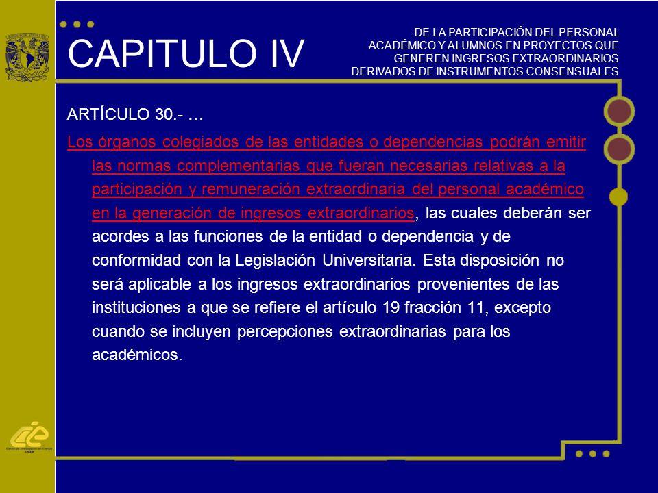 CAPITULO IV ARTÍCULO 30.- …