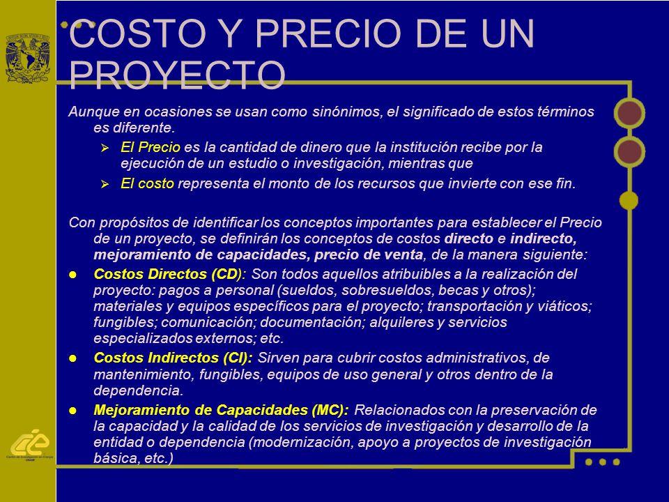 COSTO Y PRECIO DE UN PROYECTO