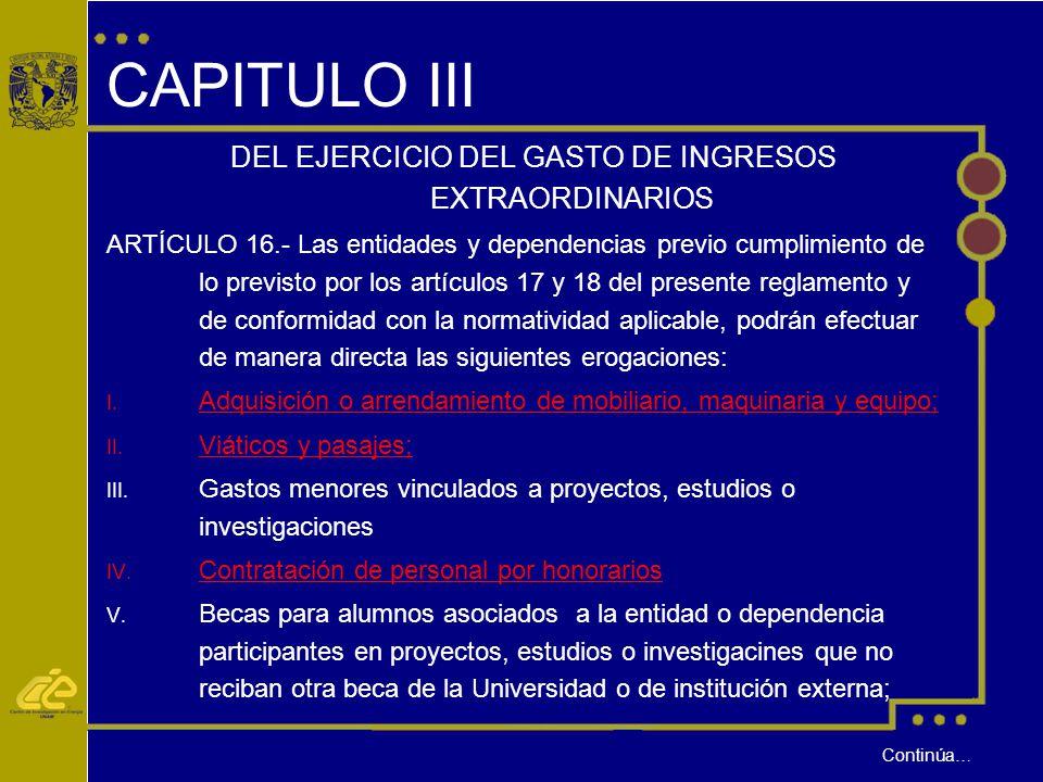DEL EJERCICIO DEL GASTO DE INGRESOS EXTRAORDINARIOS