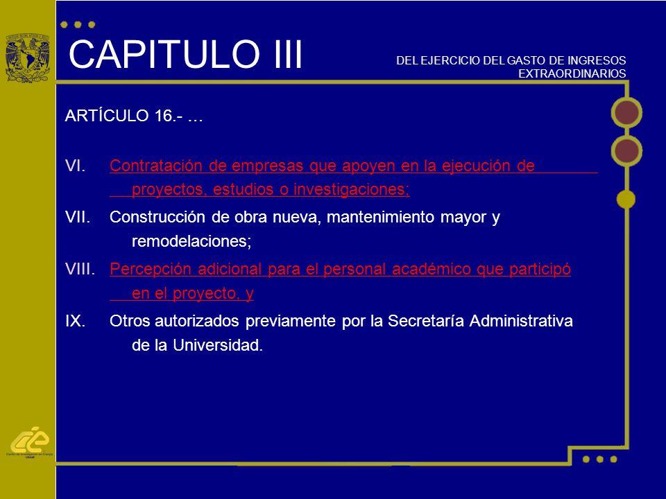 CAPITULO III ARTÍCULO 16.- …