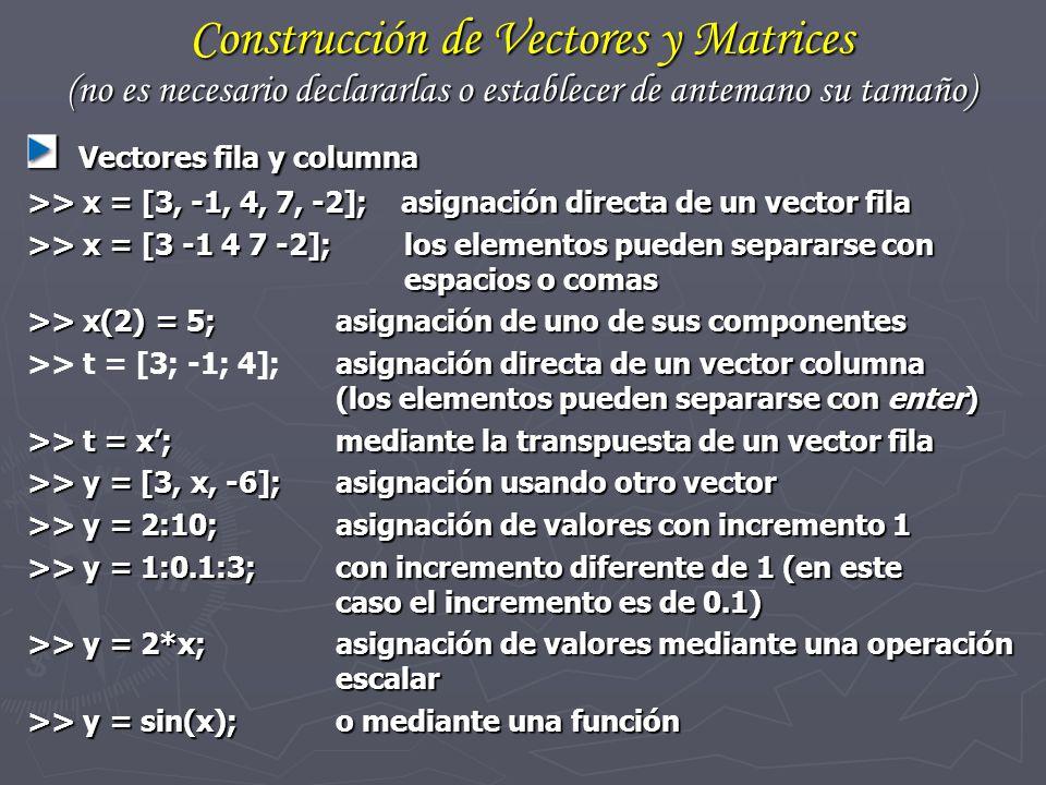 Construcción de Vectores y Matrices (no es necesario declararlas o establecer de antemano su tamaño)