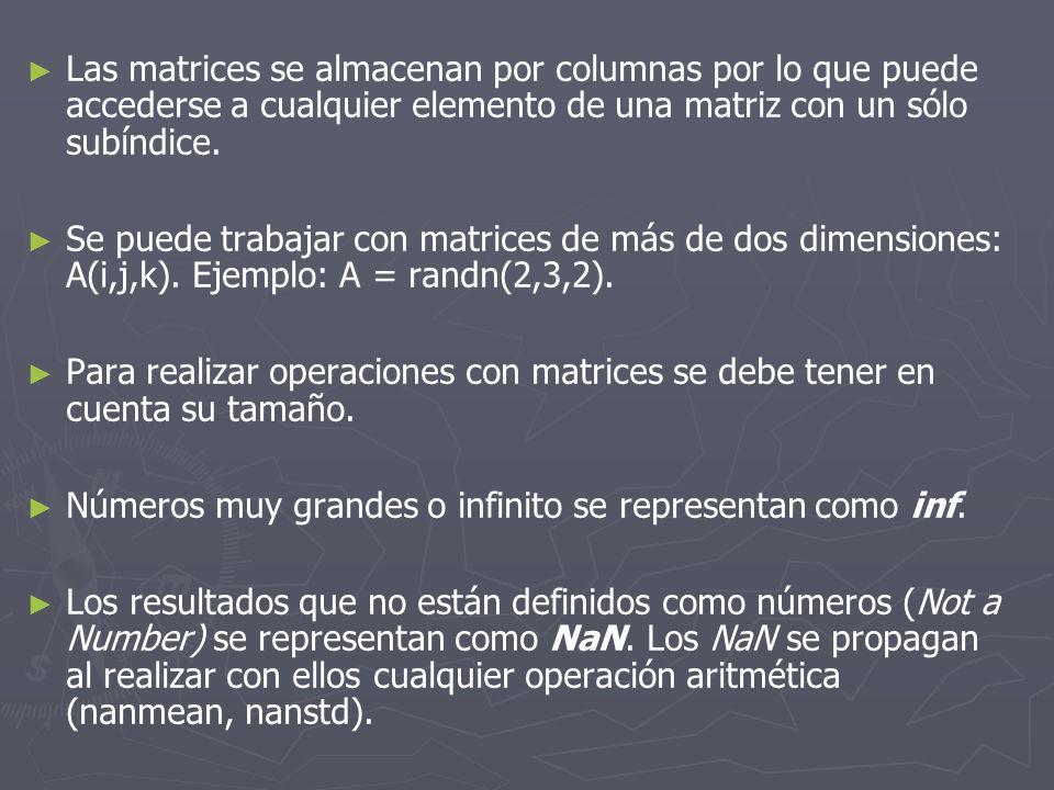Las matrices se almacenan por columnas por lo que puede accederse a cualquier elemento de una matriz con un sólo subíndice.