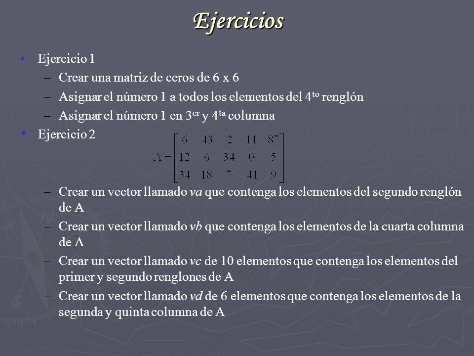 Ejercicios Ejercicio 1 Crear una matriz de ceros de 6 x 6