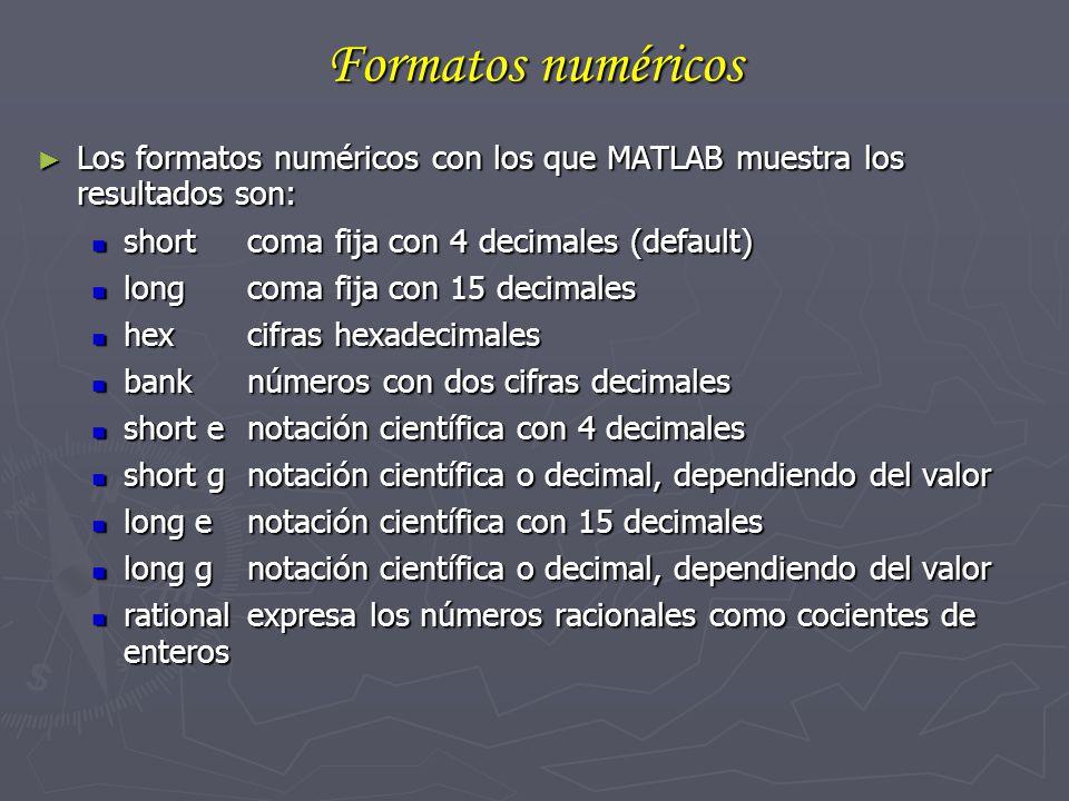 Formatos numéricos Los formatos numéricos con los que MATLAB muestra los resultados son: short coma fija con 4 decimales (default)