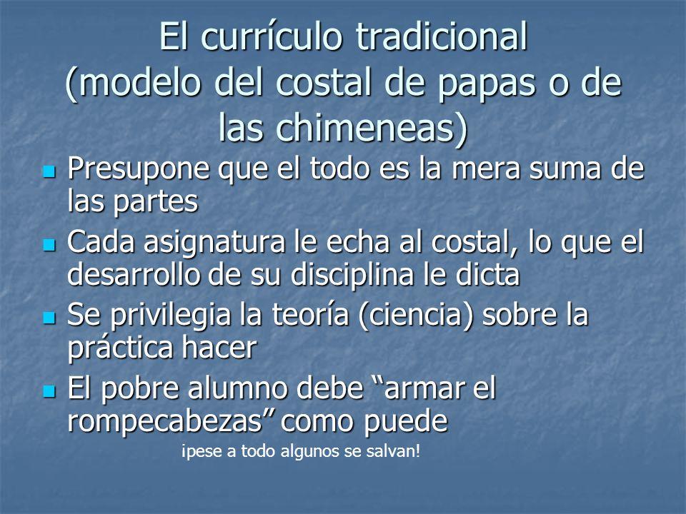 El currículo tradicional (modelo del costal de papas o de las chimeneas)