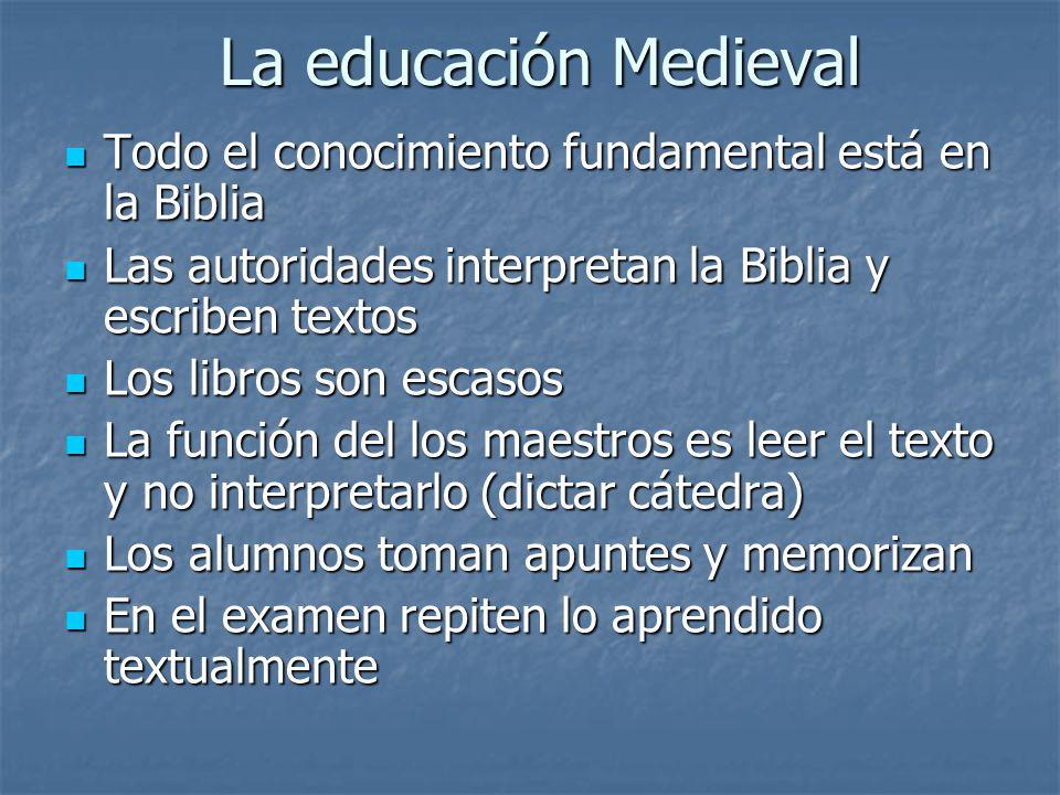 La educación Medieval Todo el conocimiento fundamental está en la Biblia. Las autoridades interpretan la Biblia y escriben textos.