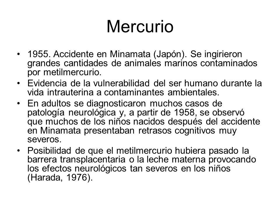 Mercurio 1955. Accidente en Minamata (Japón). Se ingirieron grandes cantidades de animales marinos contaminados por metilmercurio.