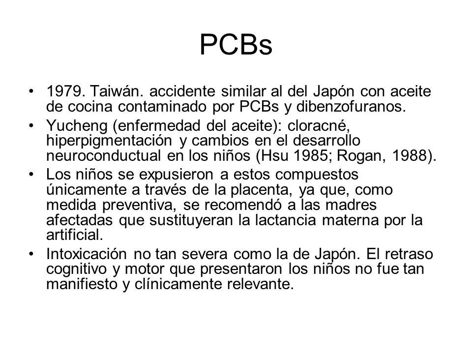 PCBs 1979. Taiwán. accidente similar al del Japón con aceite de cocina contaminado por PCBs y dibenzofuranos.
