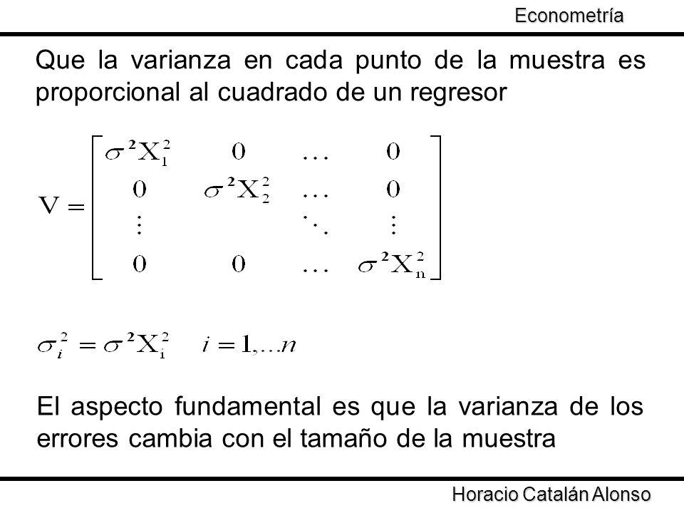 Econometría Taller de Econometría. Que la varianza en cada punto de la muestra es proporcional al cuadrado de un regresor.