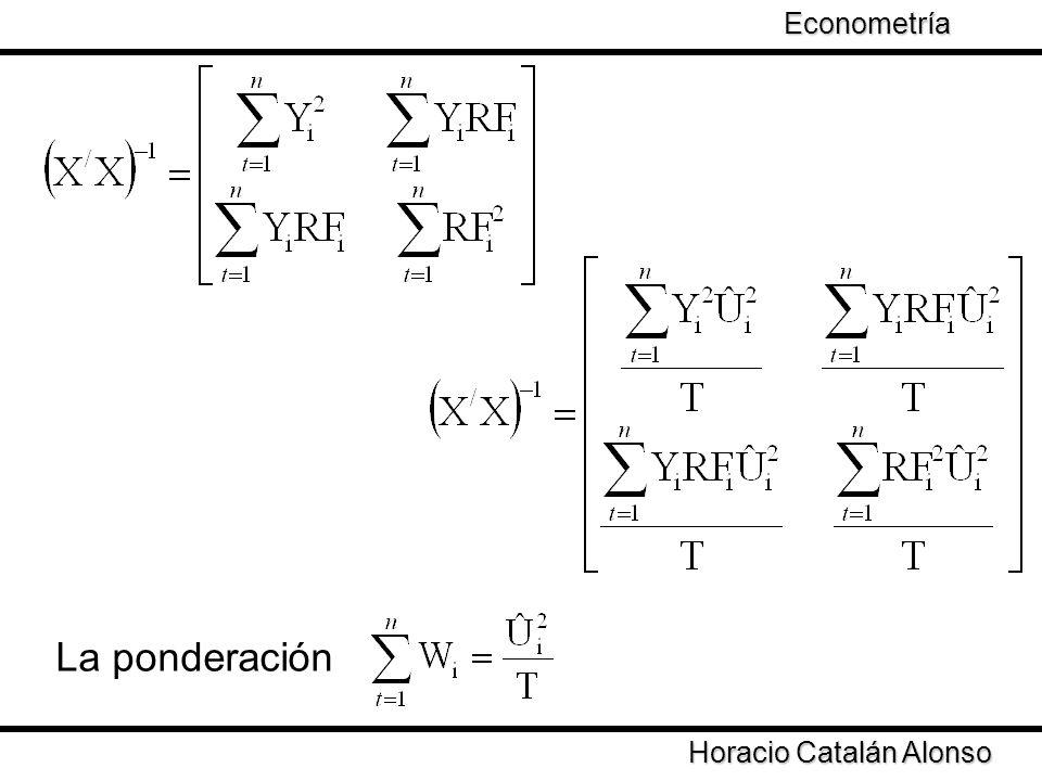 La ponderación Econometría Taller de Econometría